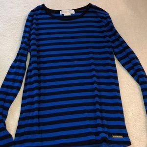 Michael Kors black and blue stripped shirt